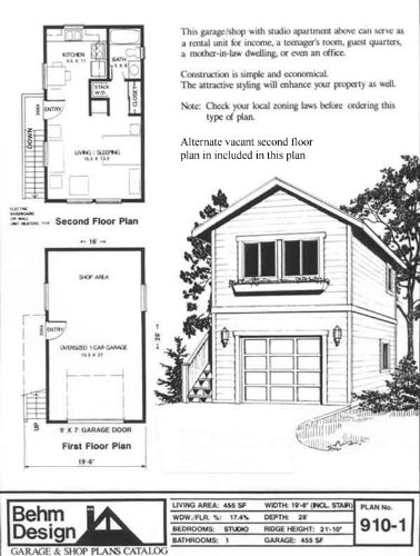 Garage plans one car two story garage with apartment for Small two story house plans with garage